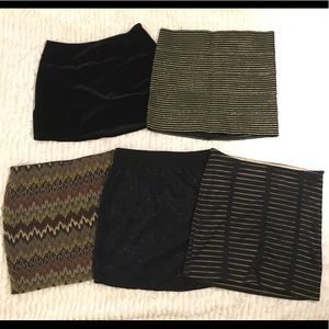 Bundle of 5 mini skirts bodycon forever 21